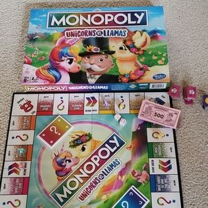 Hasbro cute Monopoly Unicorns VS. Llama board game